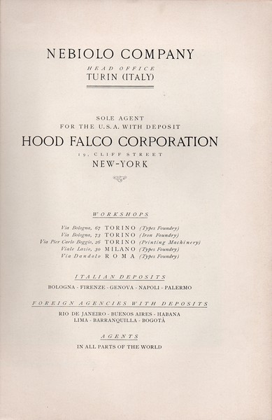 Frontispiece of the special Nebiolo catalog for the North-American market. 1920s.
