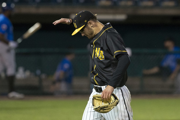 The New Britain Bees defeated the Sugarland Skeeters 6-1 on June 21, 2019. Brandon Fry (20) motions after walking off the mound in the 8th inning. Wesley Bunnell | Staff