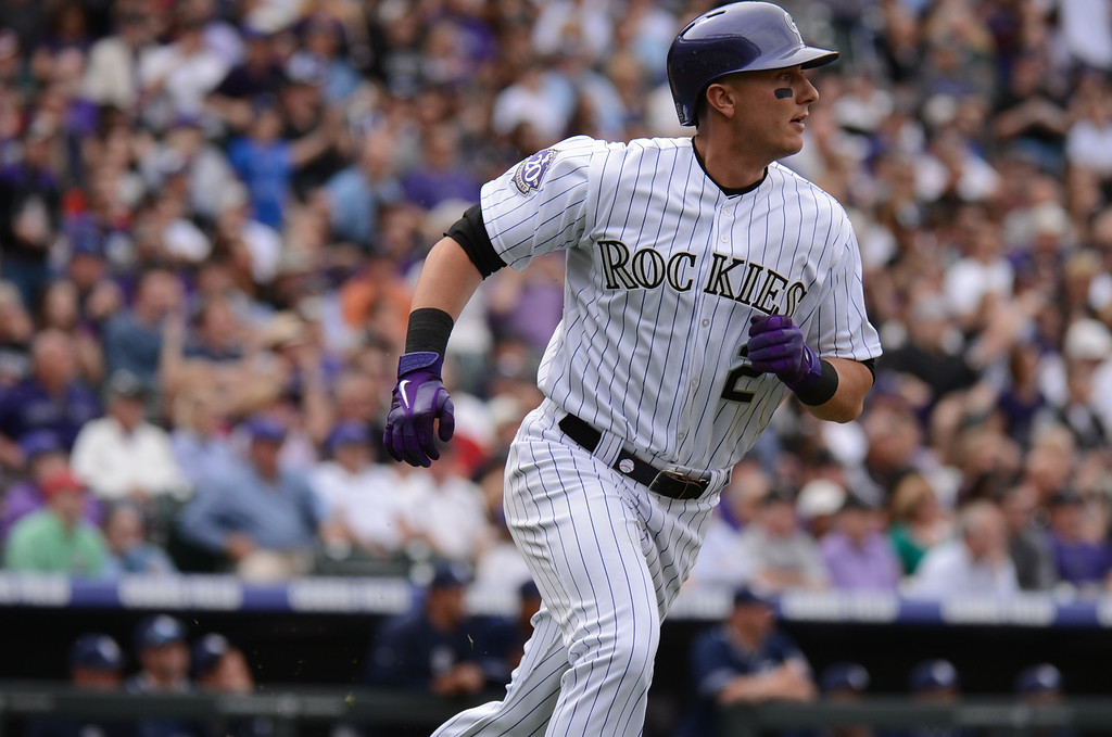 . Troy Tulowitzki (2) of the Colorado Rockies flies out to center in the second inning. (Photo by Hyoung Chang/The Denver Post)