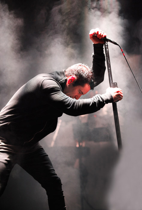 Description of . Trent Reznor of Nine Inch Nails at The Palace of Auburn Hills. Photo by Ken Settle