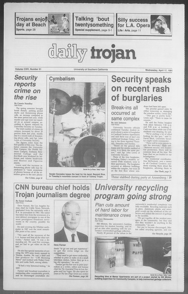 Daily Trojan, Vol. 114, No. 61, April 17, 1991