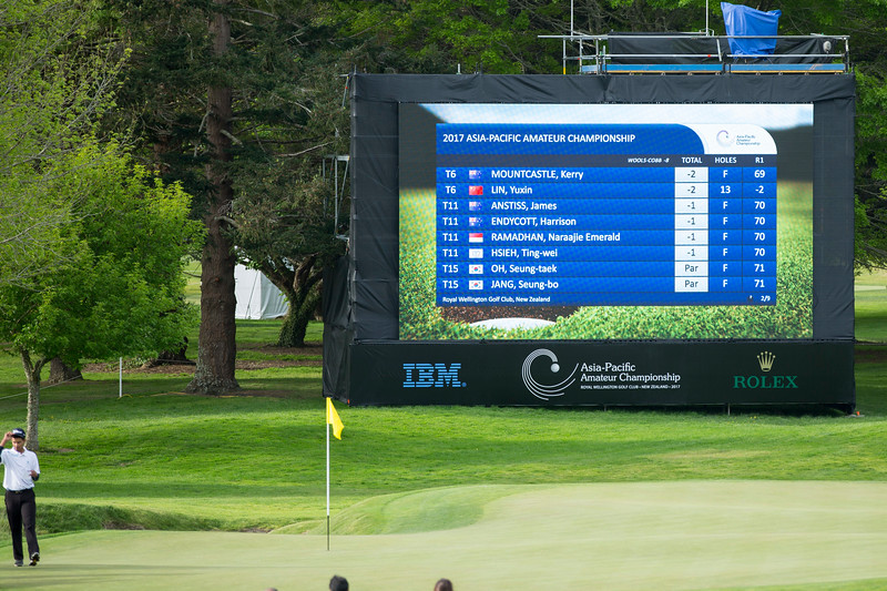 Leaderboard (page 2) at 6.00pm on  the 1st day of competition in the Asia-Pacific Amateur Championship tournament 2017 held at Royal Wellington Golf Club, in Heretaunga, Upper Hutt, New Zealand from 26 - 29 October 2017. Copyright John Mathews 2017.   www.megasportmedia.co.nz