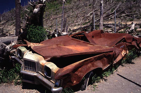 This Pontiac car was damaged in the May 18, 1980 volcanic eruption of Mount St. Helens.  This photo was made on July 6, 1991.