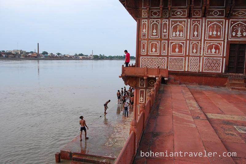 swimming at The Baby Taj in Agra.jpg