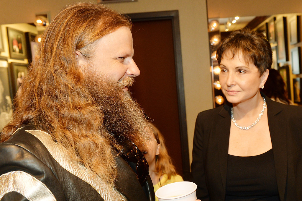 . Country musician Jamey Johnson and Nancy Jones attend the funeral service for George Jones at The Grand Ole Opry on May 2, 2013 in Nashville, Tennessee.   (Photo by Rick Diamond/Getty Images for GJ Memorial)