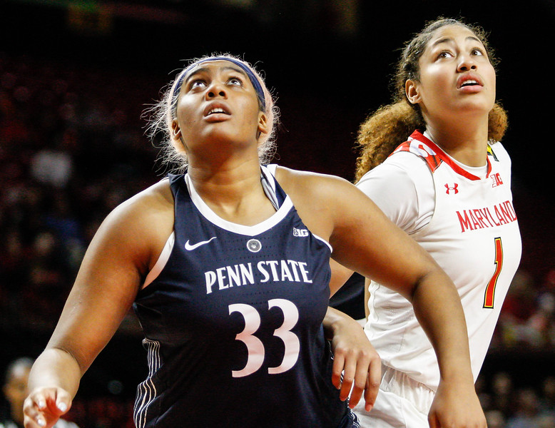 January 20, 2019: Former Riverdale Baptist teammates, Penn State forward Lauren Ebo (33) and Maryland forward Shakira Austin (1) tries to box each other out during Big Ten womens basketball action between Penn State and University of Maryland in College Park. Photo by: Chris Thompkins/Prince Georges Sentinel