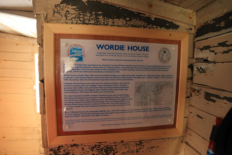 British Wordie House,Winter Island. 65˚15'S, 64˚16'W Located in the Argentine Islands.  Est 1935-Closed in 1954. http://www.ats.aq/siteguidelines/documents/wordie_house_e.pdf