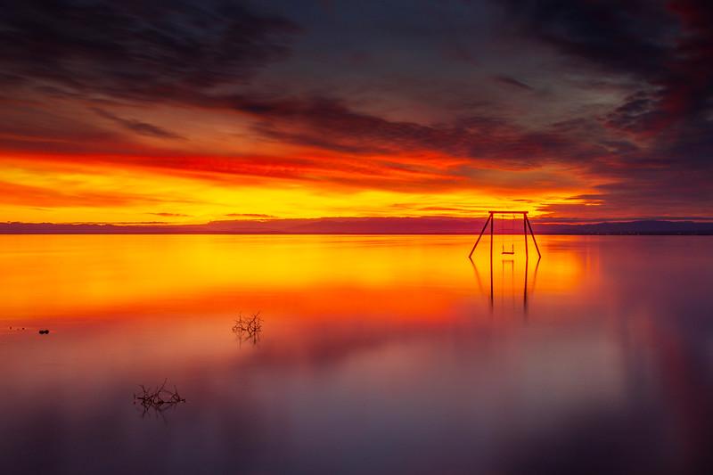 Stunning Spectacular and Serene Still Salton Sea Sunset Ssippi Swing Set on Saturday.