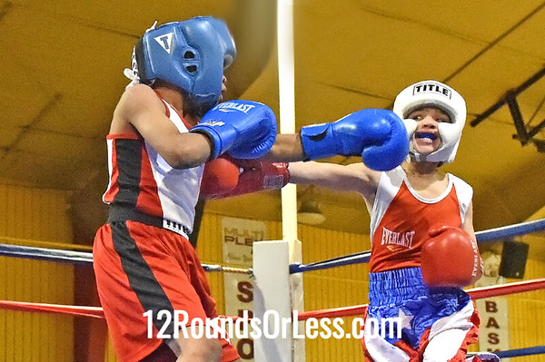 Bout 2 Michael Rivera, Red Gloves, Strongstyle/Old School -vs- Cardiare Davis, Blue Gloves, Unattached, 60 lbs, Pee-Wee, 1 Min. Rds.