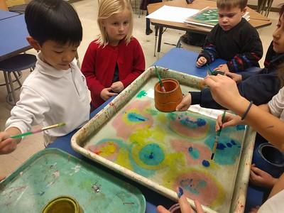 Kindergarten Suminagashi (Ink Floating) and Fish Prints