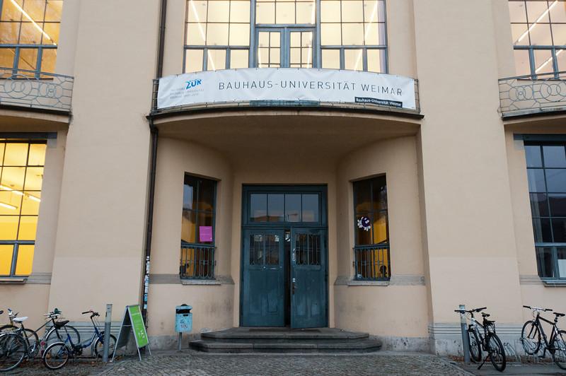 Entrance door to Bauhaus University in Weimar, Germany