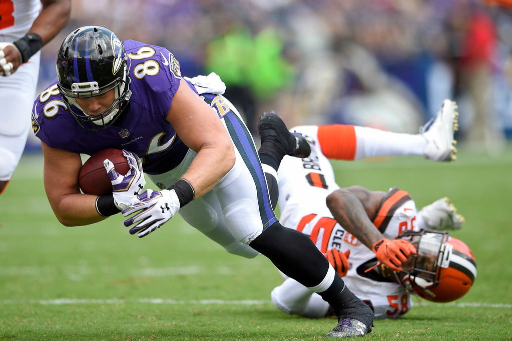 . Baltimore Ravens tight end Nick Boyle (86) is knocked to the turf by Cleveland Browns outside linebacker Christian Kirksey (58) during the first half of an NFL football game in Baltimore, Sunday, Sept. 17, 2017. (AP Photo/Nick Wass)
