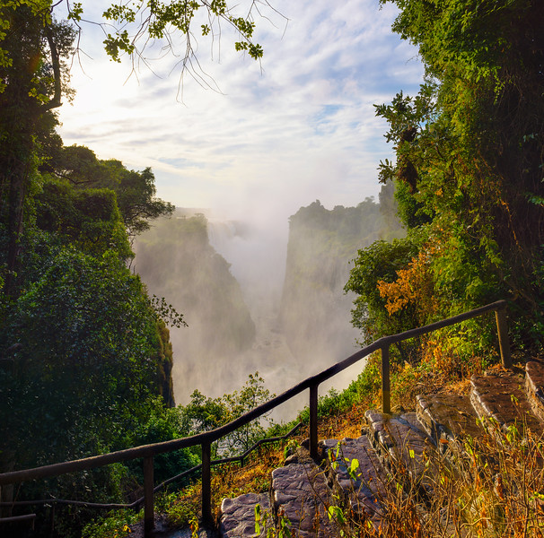 Staircase going to the Victoria Falls on Zambezi River in Zimbabwe