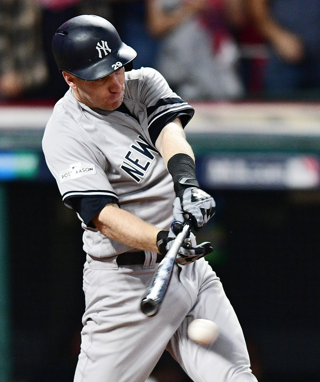 . New York Yankees\' Todd Frazier grounds out against Cleveland Indians starting pitcher Trevor Bauer during the fifth inning of Game 1 of a baseball American League Division Series, Thursday, Oct. 5, 2017, in Cleveland. (AP Photo/David Dermer)
