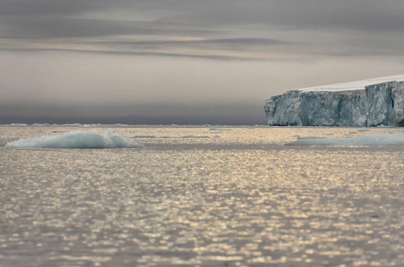 Artic light over glacier cliffs, E side of Cape Fligely, Rudolph Island