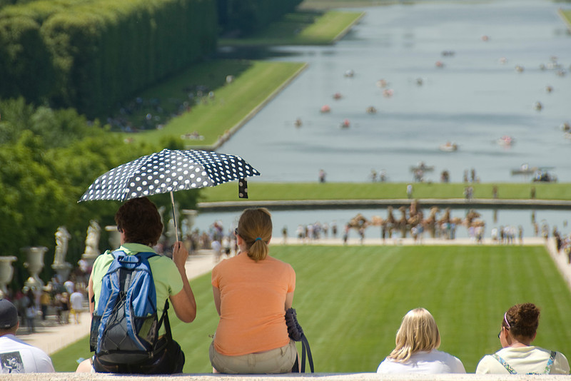 Tourists in the Versailles France Gardens