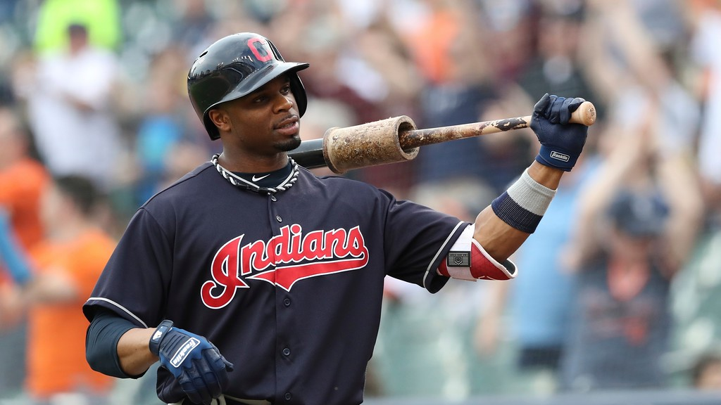 . Cleveland Indians\' Rajai Davis prepares to bat during the first inning of a baseball game against the Detroit Tigers, Tuesday, May 15, 2018, in Detroit. (AP Photo/Carlos Osorio)