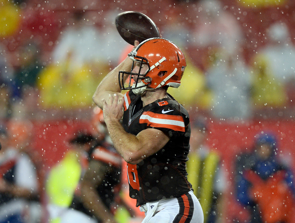 . Cleveland Browns quarterback Kevin Hogan during the fourth quarter of an NFL preseason football game against the Tampa Bay Buccaneers Saturday, Aug. 26, 2017, in Tampa, Fla. (AP Photo/Jason Behnken)