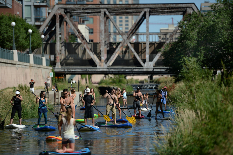 . Standup paddle boarders clogged Cherry Creek Saturday afternoon, June 28, 2014 during the first day of the South Platte RiverFest.  The fun in the water continues Sunday at Confluence Park. Photo by Karl Gehring/The Denver Post