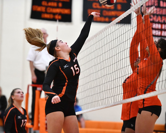 10/18/2019 Mike Orazzi | StaffrTerryville's Taylor Barnett (15) during Friday night's girls volleyball match with Goodwin Tech in Terryville.