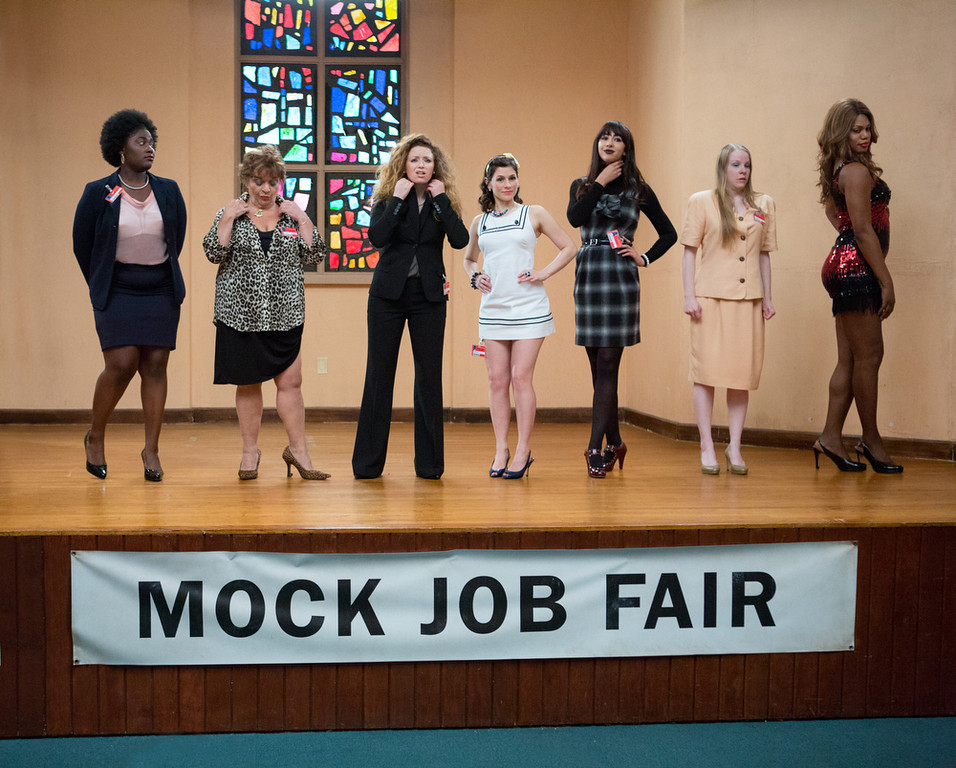. (L-R) Danielle Brooks, Lin Tucci, Natasha Lyonne, Yael Stone, Jackie Cruz, Emma Myles and Laverne Cox in a scene from Netflix�s �Orange is the New Black� Season 2. (Jessica Miglio, Netflix)