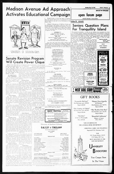 Daily Trojan, Vol. 55, No. 40, November 18, 1963