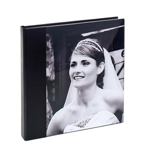 Acrylic Album Leather Look Black  The cover is made from high quality acrylic which is ground and polished.  Your chosen image is mounted behind the acrylic panel. The spine & back has a smooth leather effect material.