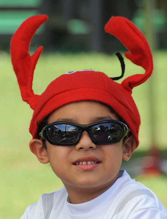 . The 17th Annual Original Lobster Festival at Rainbow Lagoon Sunday, September 08, 2013, in Long Beach.  Quinn Rivera, 6, of Carson, wears his lobster hat to the festival. Photo by Steve McCrank / Daily Breeze