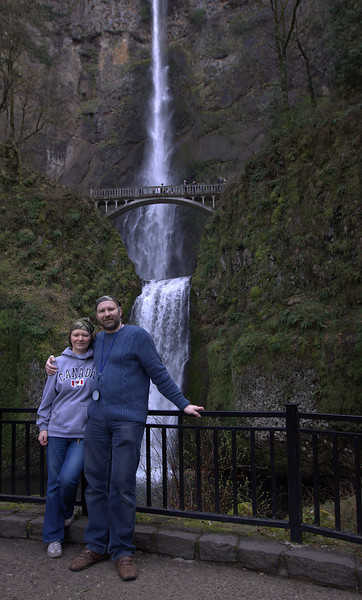 Family - Trip to Multnomah Falls, Oregon - March, 2010