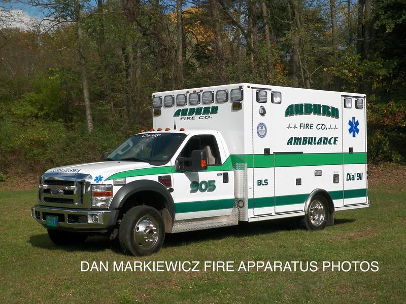AUBURN FIRE CO. AMBULANCE 905  2008 FORD/OSAGE AMBULANCE