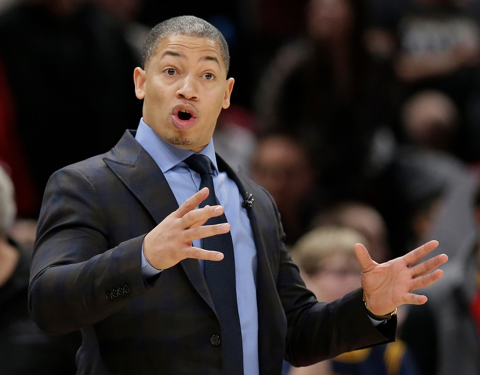 . Cleveland Cavaliers head coach Tyronn Lue yells instructions to players in the second half of an NBA basketball game against the Los Angeles Lakers, Thursday, Dec. 14, 2017, in Cleveland. The Cavaliers won 121-112. (AP Photo/Tony Dejak)