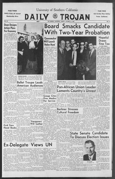 Daily Trojan, Vol. 54, No. 17, October 16, 1962