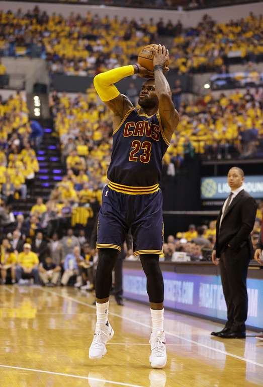 . Cleveland Cavaliers\' LeBron James shoots during the first half in Game 3 of a first-round NBA basketball playoff series against the Indiana Pacers,Thursday, April 20, 2017, in Indianapolis. (AP Photo/Michael Conroy)