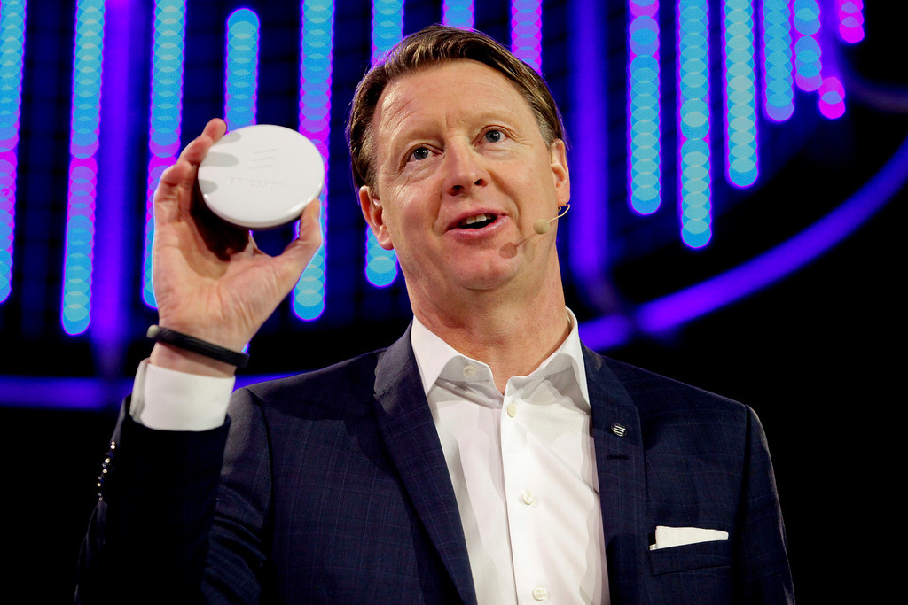 . CEO Ericsson, Hans Vestberg presents the Radio Dot System during a press conference at the Mobile World Congress in Barcelona, on February 24, 2014.  The Mobile World Congress runs from the 24 to 27 February where participants and visitors alike can attend conferences, network, discover cutting-edge products and technologies at among the 1,700 exhibitors as well as seek industry opportunities and make deals.    PAU BARRENA/AFP/Getty Images