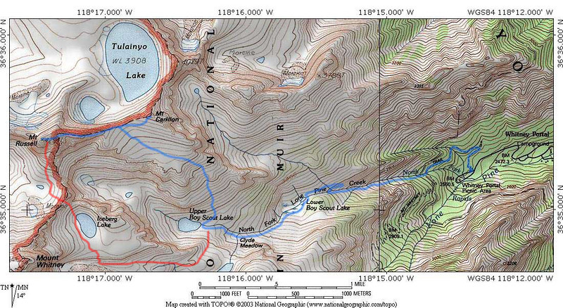 """Area map. The blue line is """"normal"""" approach to the Mt. Russell/Mt. Carillon. The red line is the way we climbed Mt. Russell."""