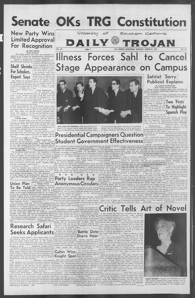 Daily Trojan, Vol. 53, No. 85, March 08, 1962
