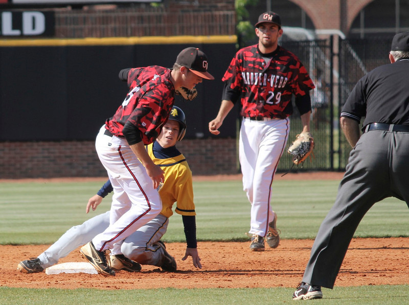 Gardner-Webb gets an out at second base
