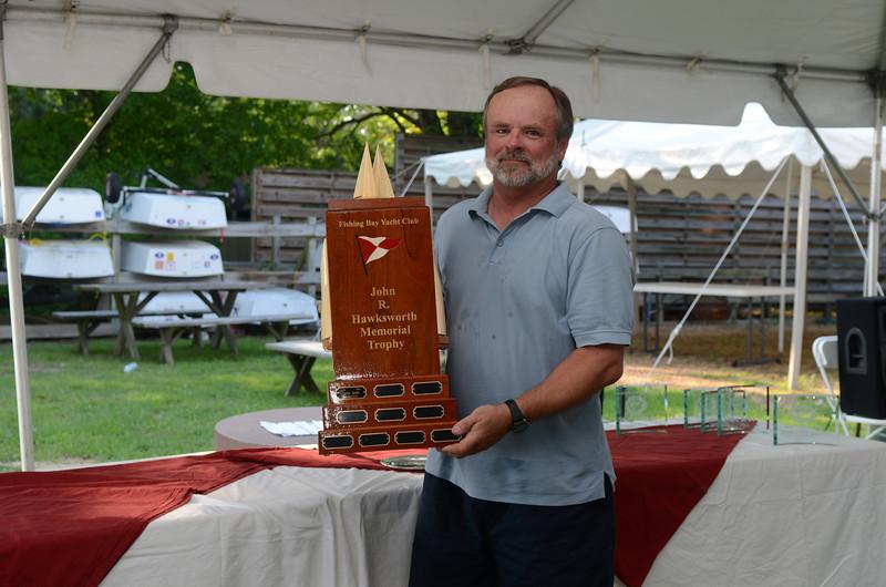John Aras with the Hawksworth Trophy