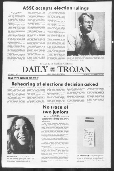 Daily Trojan, Vol. 64, No. 9, September 30, 1971