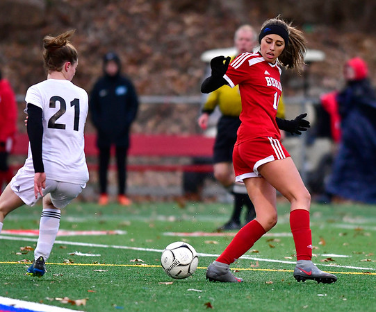 11/12/2019 MIke Orazzi | Staff Berlin High School's Emma Norton (14) Tuesday afternoon at Sage Park during the Class L First Round Girls Soccer Tournament with Joel Barlow in Berlin.