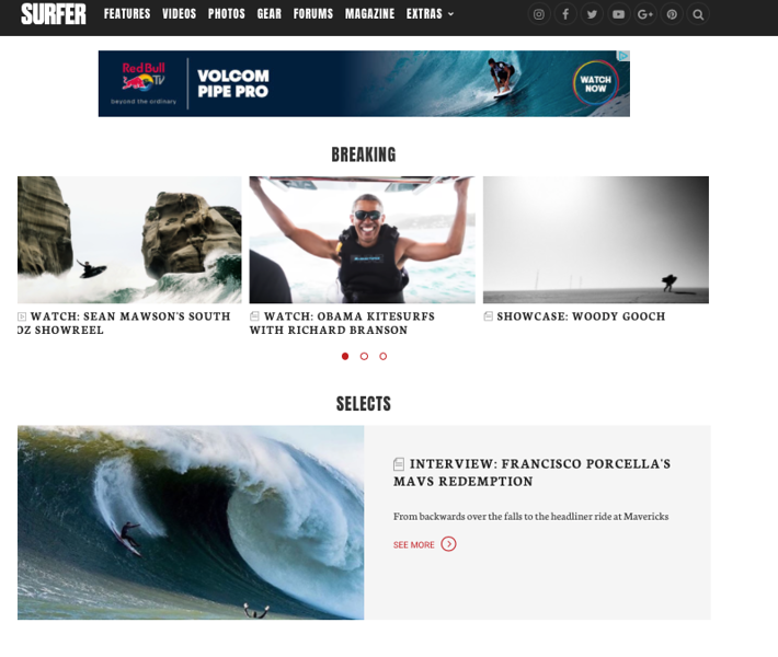 Surfer Magazine Home Page: February 6, 2017