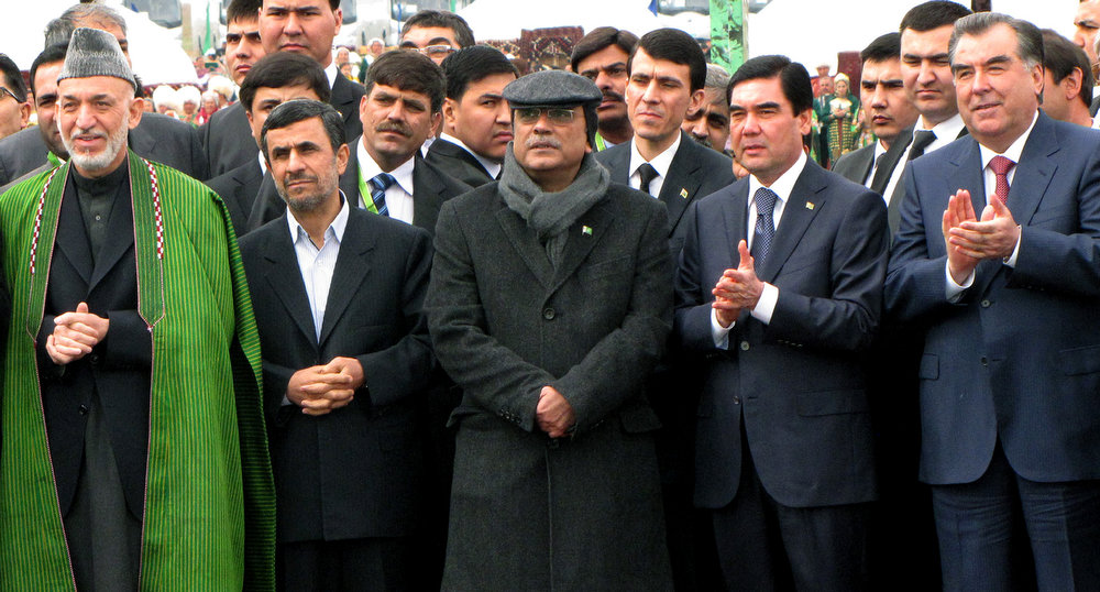 . (L-R) Afghan President Hamid Karzai, Iranian President Mahmoud Ahmadinejad, Pakistani President Asif Ali Zardari, Turkmen President Gurbanguly Berdymukhamedov and Tajik President Emomali Rakhmon applaud as they attend the celebrations of Nowruz (New Year) outside  Ashgabat, the capital of  Turkmenistan, on March 21, 2013.  Iran began yesterday the Persian New Year or Nowruz  with its most senior, Ayatollah Ali Khamenei, asking the people to stand up to piling Western economic sanctions and also warning that the pressure was unlikely to ease.  AFP PHOTO-/AFP/Getty Images