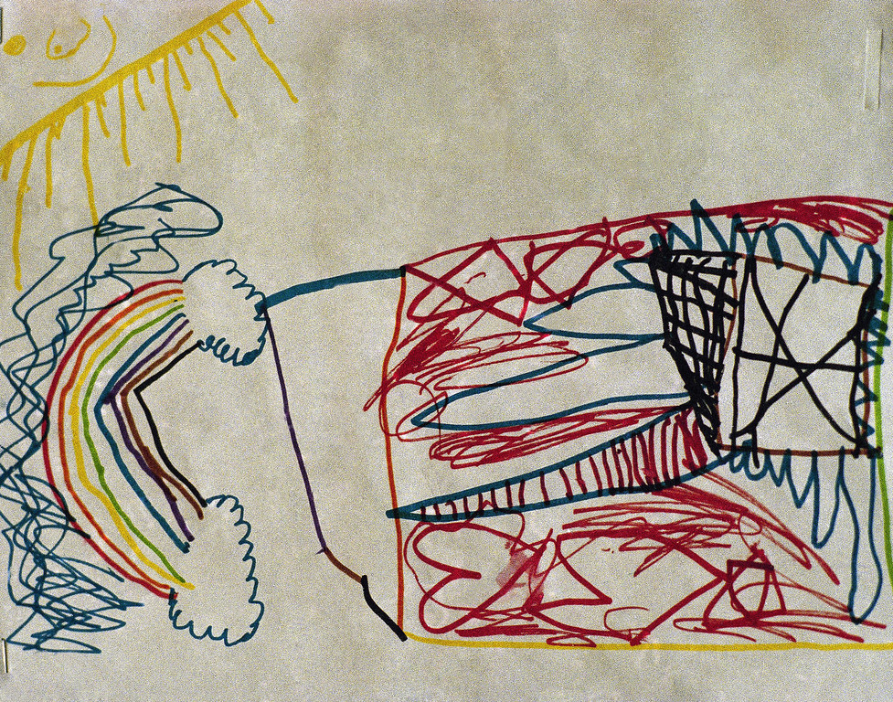 . This is a drawing by a child in Houston, Texas shown May 4, 1993, who was released from the Branch Davidian compound and interviewed by the Trauma Assessment Team headed by Bruce Perry, MD. Phd. of Taylor College of Medicine. Asked what she thought would happen at Mount Carmel, this vision of fire with a stairway leading to heaven resulted. (AP Photo/Rick Bowmer)