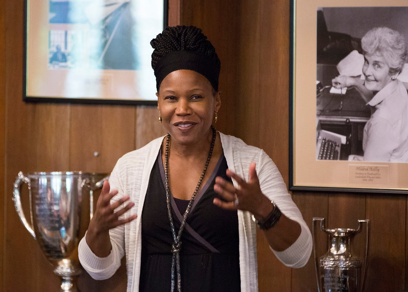 American urban revitalization strategist Majora Carter speaks to students in the Faculty Room after Morning Meeting.