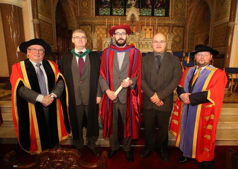 Pictured is Enda Coates, Newbridge, Co Kildare who were conferred a Doctor of Philosophy, also pictured is Dr Donie Ormonde, WIT Chairman, Tom Kent, Supervisor, Michael Pedini and Dr. Derek O'Byrne, Registrar of WIT. Picture: Patrick Browne.