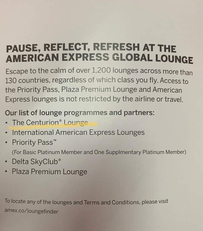 All the lounges offered with AMEX platinum card