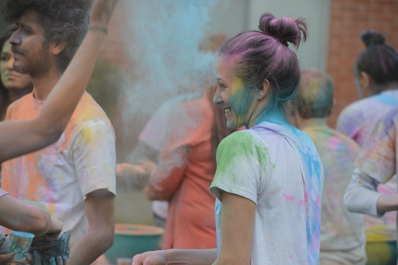 Lauren Piasecki enjoys the Holi Festival, Saturday, March 10, 2018, in Chico, California. (Carin Dorghalli -- Enterprise-Record)