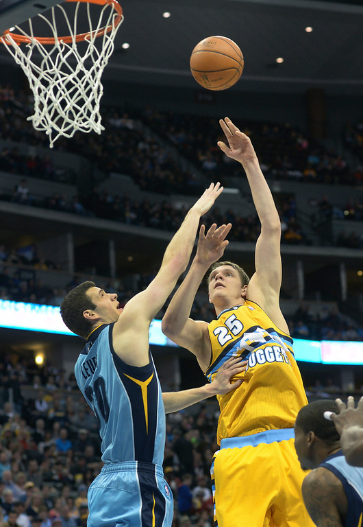 . DENVER, CO. - JANUARY 03:  Nuggets\' center Timofey Mozgov (25) hooked a shot over Memphis defender Jon Leuer (30) in the first half. The Denver Nuggets hosted the Memphis Grizzlies at the Pepsi Center Friday night, January 3, 2014. Photo By Karl Gehring/The Denver Post