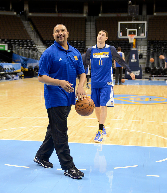 . Head Coach Mark Jackson of the Golden State Warriors smiles during their practice April 22, 2013 at Pepsi Center. The Golden State Warriors prepare for game two of the first round of the NBA playoffs against the Denver Nuggets. (Photo By John Leyba/The Denver Post)