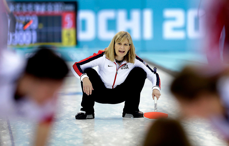 . Erika Brown, skip for the United States, shouts instructions to her teammates during the women\'s curling competition against Russia at the 2014 Winter Olympics, Tuesday, Feb. 11, 2014, in Sochi, Russia. (AP Photo/Wong Maye-E)
